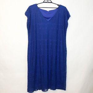 Avenue Royal Blue Lace Overlay Dress Size 26/28